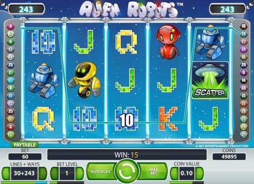 Выигрышная комбинация в Alien Robots онлайн